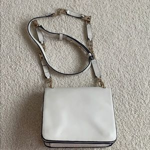 BCBG cross body bag white leather with gold links